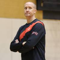 Japan women's national team assistant coach Tom Hovasse watches the action during a recent training camp at the National Training Center in Tokyo. | KAZ NAGATSUKA