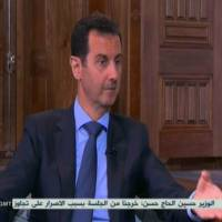 An image grab taken from Hezbollah's al-Manar TV on Tuesday shows Syrian President Bashar Assad during an interview in Damascus.   AFP-JIJI