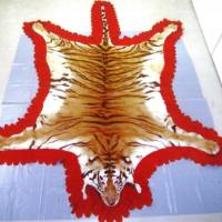 A processed tiger pelt is auctioned on the Internet. Police are intensifying efforts to crack down on illegal trade of items from endangered species. | NPA/KYODO