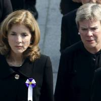 U.S. Ambassador to Japan Caroline Kennedy (left) and U.S. Under Secretary of State for Arms Control and International Security Rose Gottemoeller attend the ceremony at the Peace Memorial Park in Hiroshima on Thursday. | REUTERS