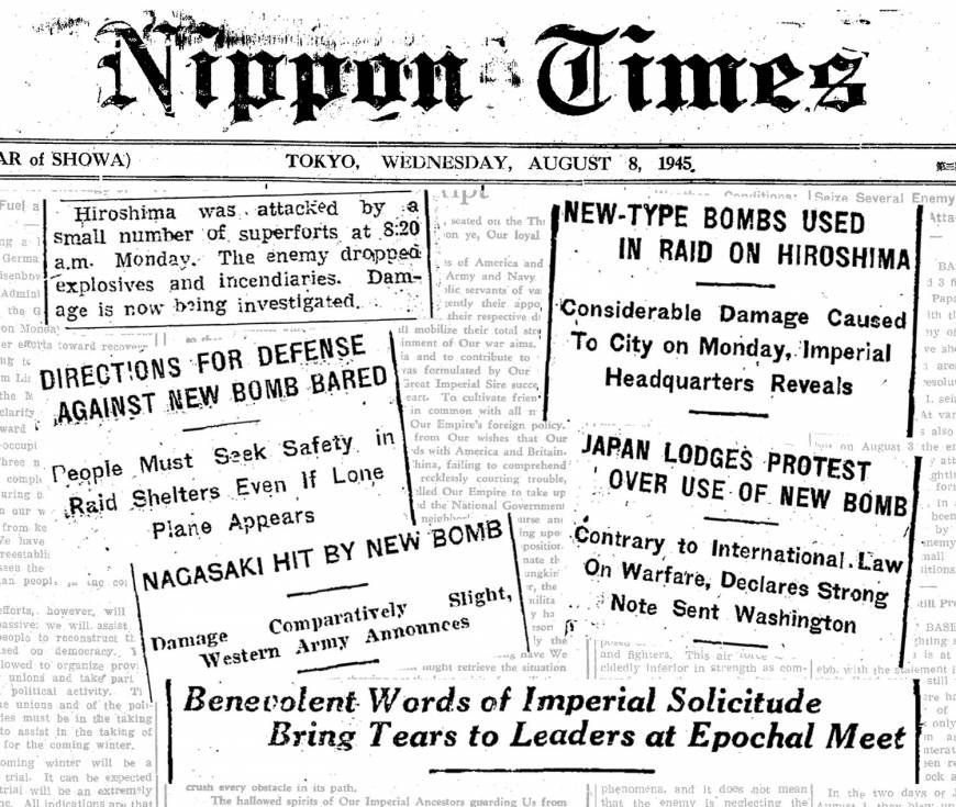 How The Japan Times reported the atomic bombings of Hiroshima and Nagasaki