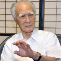 Former Prime Minister Tomiichi Murayama is interviewed in in the city of Oita on Friday. | KYODO