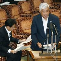 Defense Minister Gen. Nakatani speaks before an Upper House special committee on Wednesday. | KYODO