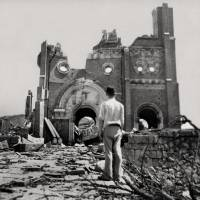 A photo taken in September 1945 by an American journalist shows the devastation inflicted on Urakami Cathedral in the city of Nagasaki. | KYODO