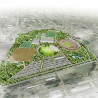 This sketch shows the plans of the city of Tsukuba, Ibaraki Prefecture, to build a new park with 11 sports facilities. | KYODO