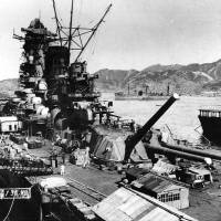 The battleship Yamato is fitted out at the Kure Naval Arsenal in Hiroshima Prefecture in September 1941. | COURTESY OF U.S. NAVY NAVAL HISTORY AND HERITAGE COMMAND