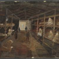 Harsh reality: A drawing of conditions in a Soviet detention camp after World War II ended.     KANICHI HAYATA