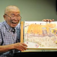 Tomio Narita uses hand-painted pictures to recount his experiences in Soviet camps after World War II.   YOSHIAKI MIURA