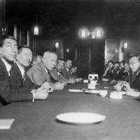 Home Minister Kenzo Adachi (third from left) discusses censorship with writers on April 23, 1931. | KYODO