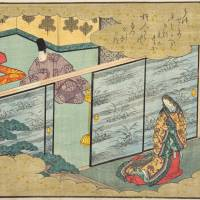 Amorous affairs: A woodblock print by Utagawa Hiroshige from the series 'Tale of Genji in Fifty-four Chapters' shows Utsusemi, the first woman whom Genji courts.