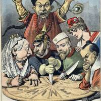 Chinese takeaway: A 1899 French political cartoon depicts China as a pie about to be carved up by Britain's Queen Victoria, Germany's Kaiser Wilhelm II, Russia's Tsar Nicholas II, Marianne of France and a samurai representing Japan, while a Chinese mandarin looks on helplessly.   HENRI MEYER / WIKIMEDIA COMMONS