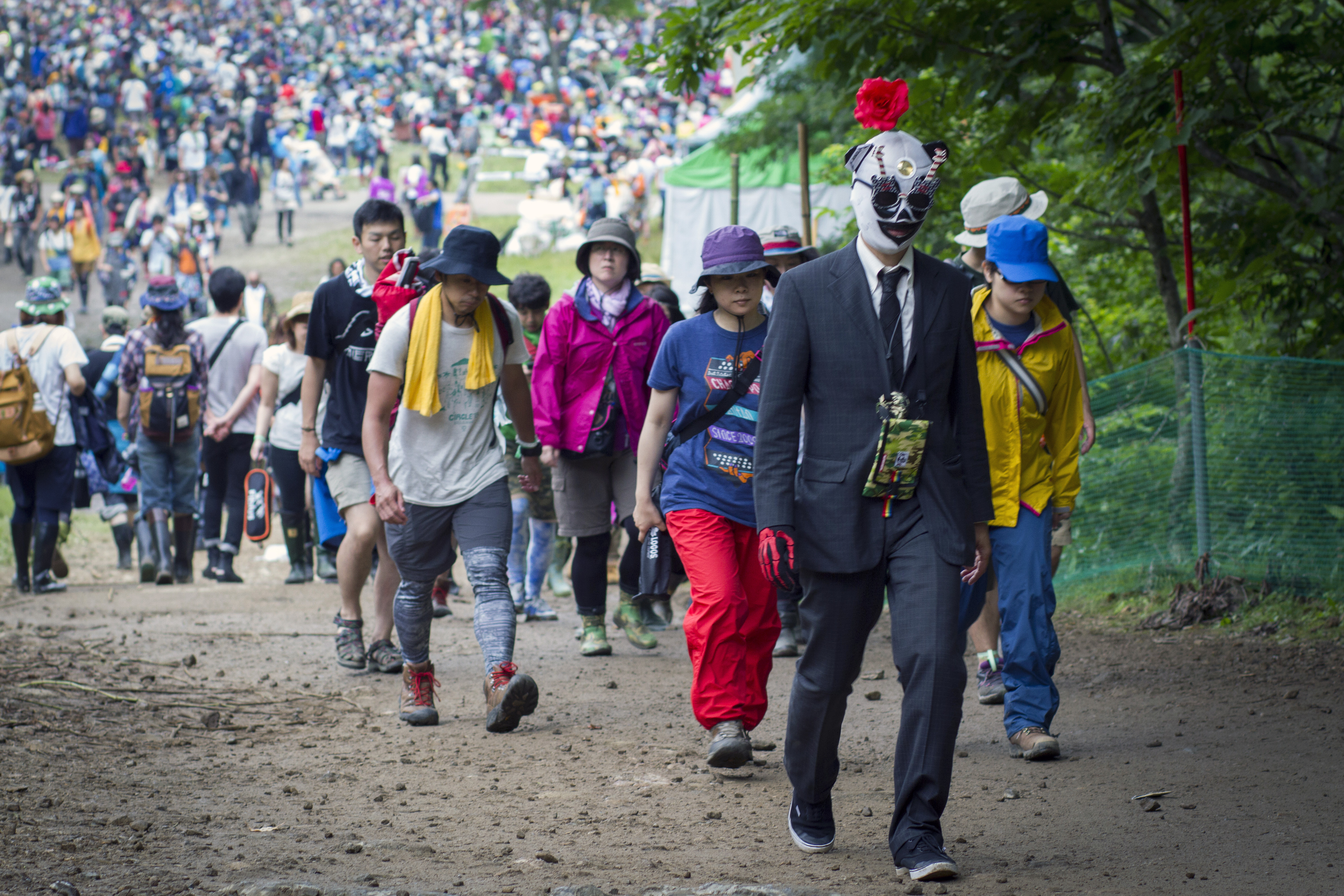 The long march: Music fans at Fuji Rock Festival commute between stages at the event. | JAMES HADFIELD