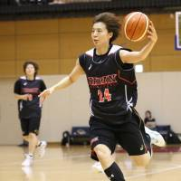 Japan shooting guard Mika Kurihara, a Toyota Antelopes standout who's seen in a file photo from a national team workout, scored 17 points against Taiwan in Thursday's exhibition game in Chiba. Japan defeated the visitors 92-52. | KAZ NAGATSUKA