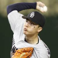 Chunichi starting pitcher Shunta Wakamatsu delivers during the Dragons' 5-0 win over the Giants on Sunday. | KYODO