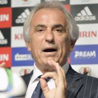 Japan manager Vahid Halilhodzic speaks during a news conference on Thursday ahead of upcoming World Cup qualifies next month. | KYODO