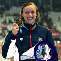 Ledecky grabs fifth gold at worlds