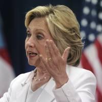 Democratic presidential candidate Hillary Rodham Clinton speaks about Puerto Rico's health care crisis in San Juan on Friday. | AP