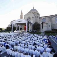 Pope Francis presides over a Canonization Mass for Friar Junipero Serra at the Basilica of the National Shrine of the Immaculate Conception in Washington Wednesday. | REUTERS