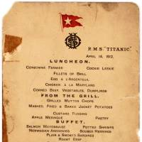 This image obtained Monday courtesy of Lion Heart Autographs shows an April 14, 1912, menu from the R.M.S. Titanic. Lion Heart Autographs has announced an auction of three very rare and previously unknown artifacts recovered from survivors of the RMS Titanic's infamous Lifeboat No. 1 known as 'The Millionaire's Boat,' or 'The Money Boat.' Lifeboat No. 1 was lowered from the Titanic with just five wealthy passengers and seven crew members, who quickly rowed away without trying to rescue anyone else. | LION HEART AUTOGRAPHS / HANDOUT / AFP-JIJI