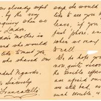 This image obtained Monday courtesy of Lion Heart Autographs shows part of a letter written by Lifeboat No. 1 survivor Mabel Francatelli. | LION HEART AUTOGRAPHS / HANDOUT / AFP-JIJI