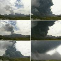An eruption of Mount Aso in Kumamoto Prefecture is seen in a sequence of photos taken over the course of a quarter of an hour starting at 9:40 a.m. Monday (top left). | METEOROLOGICAL AGENCY/KYODO