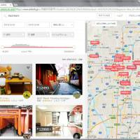 A screen grab shows search results for hosts in Kyoto on the Airbnb website.