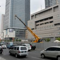 The Japanese Embassy in Jakarta is seen Friday. Japan is beefing up security at its embassies worldwide after the Islamic State called for attacks on its diplomatic missions. | AFP-JIJI