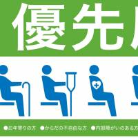 A new sticker prepared by the East Japan Railway Co. to be used from Oct. 1 asks passengers near priority seats to turn off their mobile phones only when trains are crowded.   KYODO