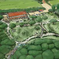 A handout illustration shows plans for a children's facility being spearheaded by animated film director Hayao Miyazaki in Kumejima, Okinawa Prefecture. | KUME CREATION / KYODO