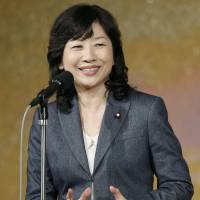 Seiko Noda speaks at a fundraising event Tuesday evening in Tokyo. | KYODO