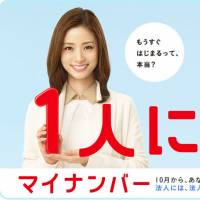 A screenshot from the Cabinet Office website shows actress Aya Ueto and a new mascot dubbed Maina-chan promoting the impending launch of the My Number ID card, which the government insists will make people's lives more convenient.