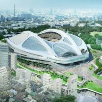 The new national stadium, seen here in an artist's rendering, was scrapped in July amid revelations that its costs had soared. Critics also pointed to a lack of clarity over who had responsibility for the project. | AP