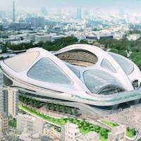 This rendering shows the scrapped design for the new National Stadium. | JAPAN SPORT COUNCIL / KYODO