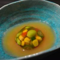 Song to summer: Lunch at Kyokabutoya opened with a collection of sweet corn kernels, okra, edamame and tomato held together with jellied dashi. | J.J. O'DONOGHUE