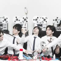 Even better than the reel thing: Open Reel Ensemble includes (from left) Takumi Namba, Haruka Yoshida, Ei Wada, Masaru Yoshida and Kimitoshi Sato. The group uses reel-to-reel recorders to create new sounds on second album 'Vocal Code.'