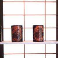 Cherry-bark tea canisters on display at the Aoyagi house in Kakunodate, Akita Prefecture. | MANDY BARTOK