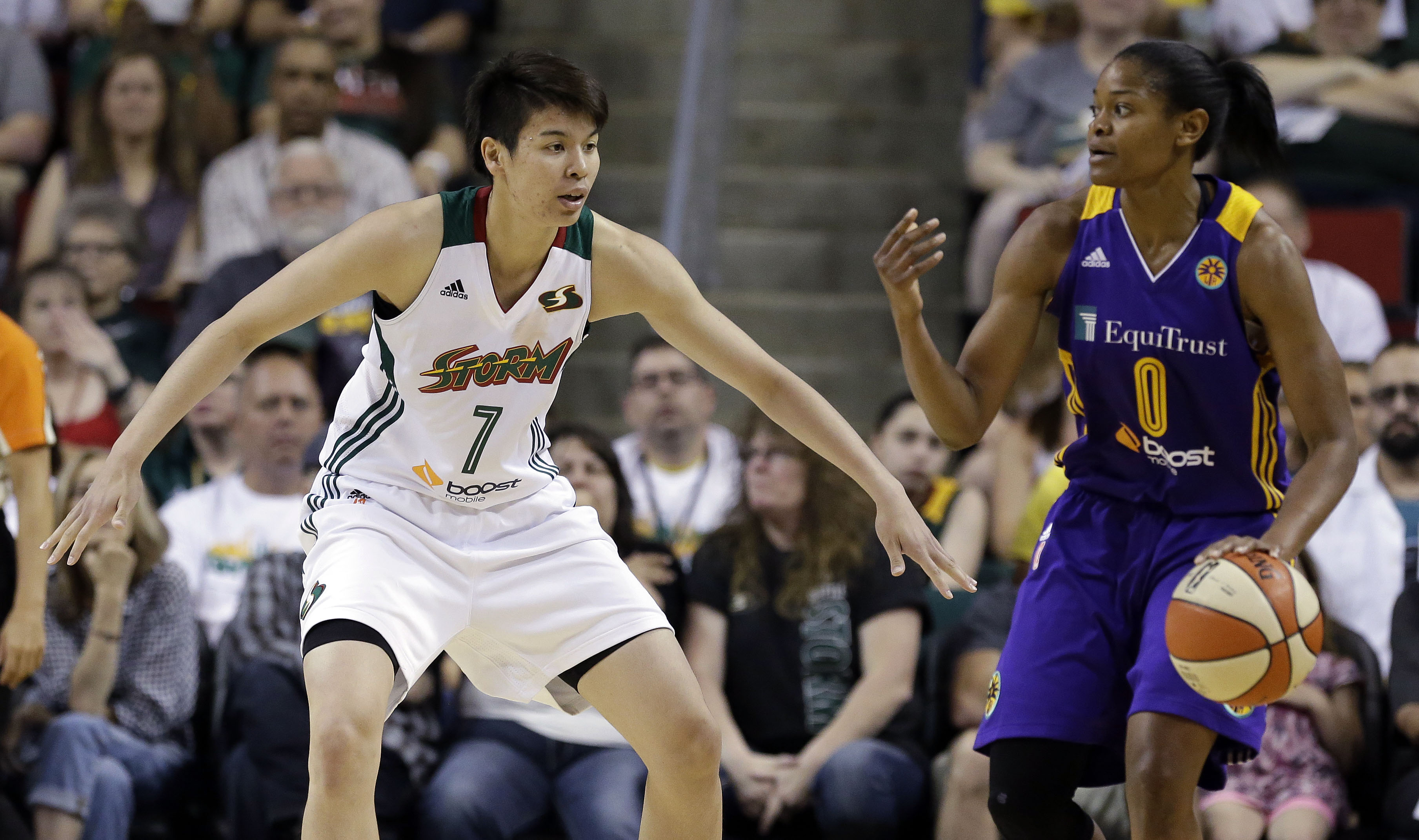 Ramu Tokashiki, seen here playing for the Seattle Storm against Los Angeles' Alana Beard in June, was voted to the WNBA's All-Rookie team on Thursday. | AP
