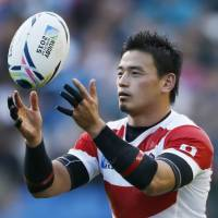 Japan fullback Ayumu Goromaru prepares to take a conversion during Saturday's 34-32 win over South Africa at the Rugby World Cup. | REUTERS