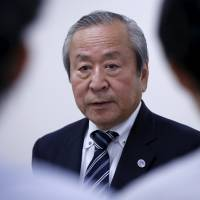 Akira Shimazu, CEO of the 2019 Rugby World Cup organizing committee, speaks to reporters in Tokyo on Monday. | REUTERS
