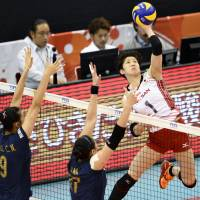 Miyu Nagaoka spikes the ball during Japan's defeat to China at the FIVB Women's World Cup in Nagoya on Sunday. | KYODO