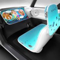 Nissan Motor Co. designers have created a clear-white surface for displaying photos, showing movies and playing games in the automaker's Teatro for Dayz concept. | NISSAN MOTOR CO.
