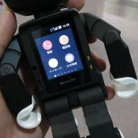 Sharp Corp.'s RoBoHoN features a touchscreen on its back that works just like a smartphone screen, enabling users to browse the Internet and make phone calls. | KAZUAKI NAGATA
