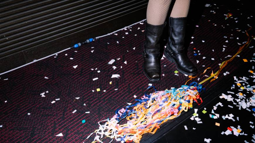 The party may be over, but the Lip's members stay on to make sure the theater is spotless before they leave. | DAN SZPARA