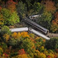 Amtrak train Vermonter hits rockslide, jumps tracks; four taken to hospital