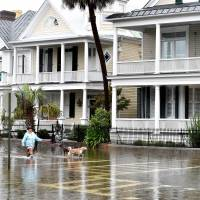 A local resident walks her dogs on a flooded street in downtown Charleston, South Carolina, Sunday.   AFP-JIJI