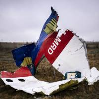 Parts of Malaysia Airlines Flight MH17 lie near the village of Hrabove, Ukraine, on Nov. 10, 2014. | AFP-JIJI