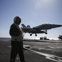 USS Reagan sends F/A 18s to intercept, ward off approaching Russian bombers in Sea of Japan