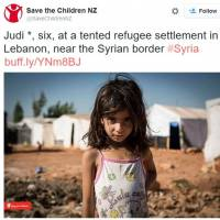 Photographer Jonathan Hyams' shot of a Syrian refugee appears in a Twitter post by Save the Children NZ. It was used as the basis for a provocative illustration by artist Toshiko Hasumi, which was later withdrawn.