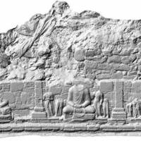 An image taken at the Taxila ruins in the Pakistani province of Punjab is shown below a 3-D image of one of the antiquities. | JAPANESE CENTRE FOR SOUTH ASIAN CULTURAL HERITAGE/KYODO