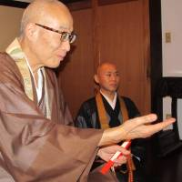 Test of faith: Seventy-year-old Zoko Saeki, the abbot at Rendaiji Temple in Okayama Prefecture, is a supporter of the Hoodie Monks project. He says he wants to 'keep the teachings going and alive,' but is concerned about the declining interest in Buddhism, especially among the young.   SIMON SCOTT